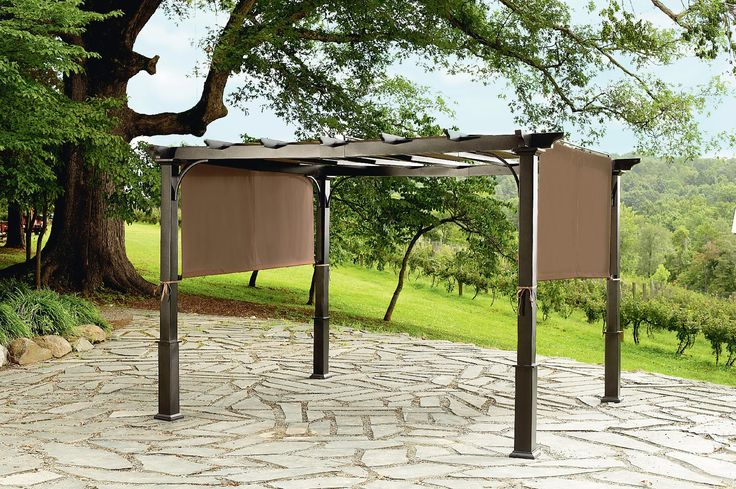 500 garden oasis 9x10 pergola with heavy duty posts for Metal frame pergola designs