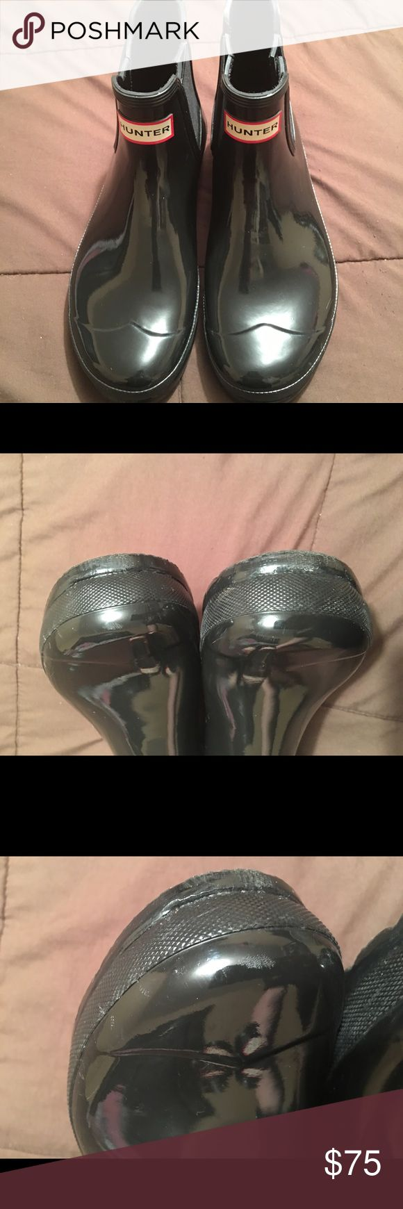 Hunter Chelsea boots 😀👗👝👠❤️️👚👜 Hunter boots in size 9. Has some marks in front. Didn't even notice until I cleaned for pictures. I offer a 20% discount for 2 or more items. It will automatically be applied at checkout. Hunter Boots Shoes Ankle Boots & Booties