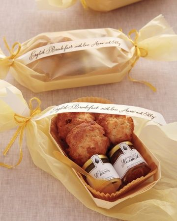 """British Appeal-At the end of the night, each guest went away with a thoughtfully prepared package of miniature scones, clotted cream, and homemade orange-bergamot marmalade. The sweets were wrapped with a beautifully calligraphed note (meant to be read, of course, with a dapper British accent): """"English breakfast with love, Annie and Olly."""""""