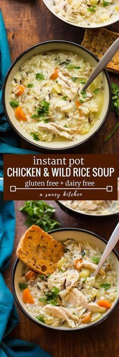 Hearty + healthy Chicken and Wild Rice Soup - comes together in the instant pot and ready in under 30 minutes! Perfect for fall and winter dinners! | Gluten Free + Dairy Free