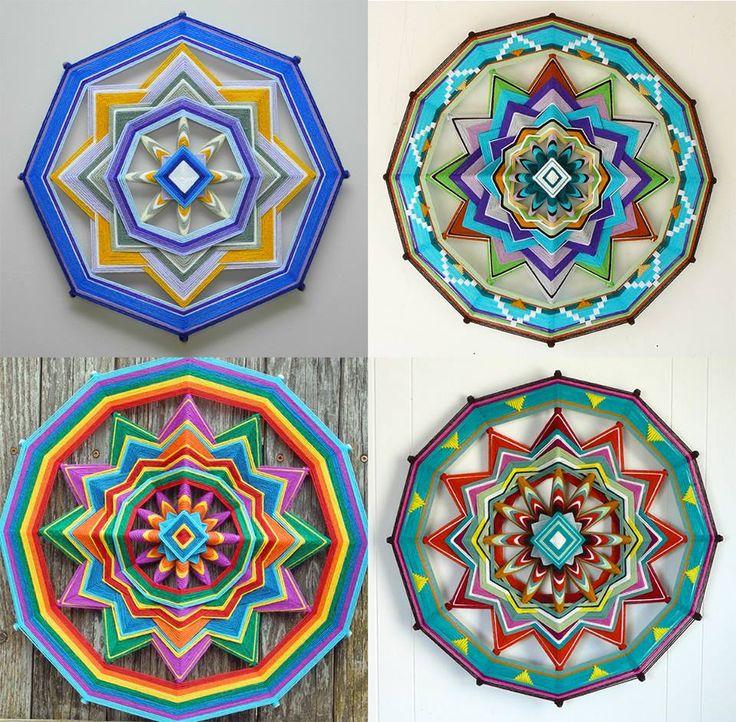 ⊰❁⊱ Mandala ⊰❁⊱ hechos por Jay Mohler, utilizando alrededor de 15 colores en sus mandalas llamados los Ojos de Dios, desde 1966. Estàn inspirados en los huicholes nativos de Mèxico y en los monjes tibetanos.