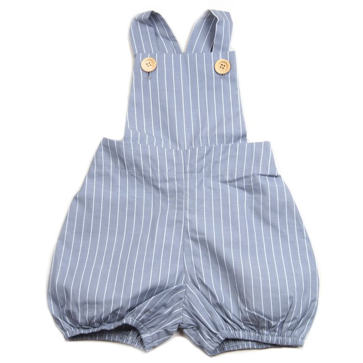 Krutter grey short overalls with white stripes, wooden buttons, elasticised back and hem and adjustable strap.  100% cotton. Made in Turkey. $59.95 http://www.danskkids.com.au/collections/spring-summer-2015/products/krutter-grey-and-white-striped-short-overalls
