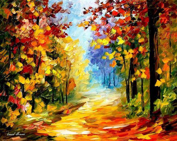 Bosque de vacío: Ruta de otoño de paisaje óleo por AfremovArtStudio