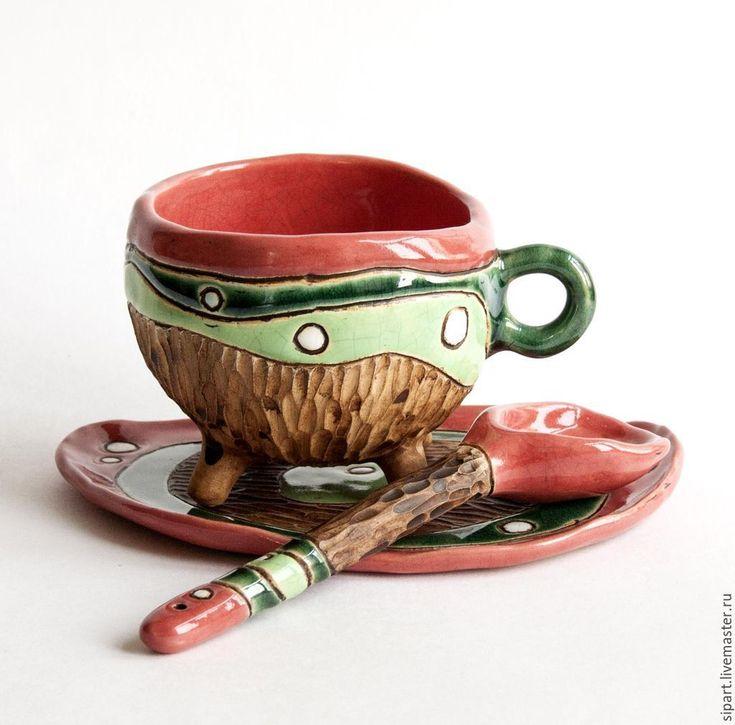 """Купить Чайная пара с ложечкой """"Лесной коралл"""" - коралловый, чашка с блюдцем, керамическая посуда"""