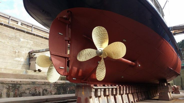 In dry dock at the Devonport Naval base the massive scale of the propellers of the historic steam tug William C. Daldy is easy to see