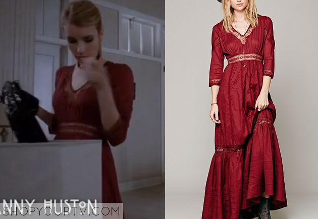 Madison Montgomery (Emma Roberts) wears this red victorian-inspired v-neck maxi dress in this week's episode of American Horror Story: Coven. It is the Free People Candela Dress. Buy it HERE for $239.95     http://www.freepeople.com/heart-dress/