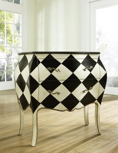of a better pairing than a striking monochrome design with an unusual statement piece of furniture the addition of this curved chest will add drama to added drama mirrored bedroom furniture