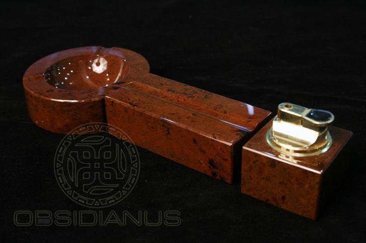 Cigar Ashtray & Lighter Hand Made / Semiprecious Natural Obsidian Stone / Mahogany Color