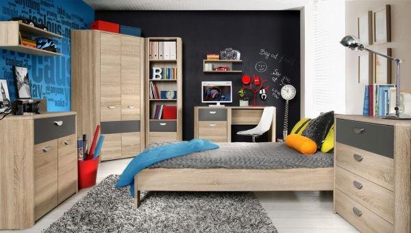 Jugendzimmer Yoop mit Bett, Eckschrank, Schreibtisch, Standregal und Kommode.