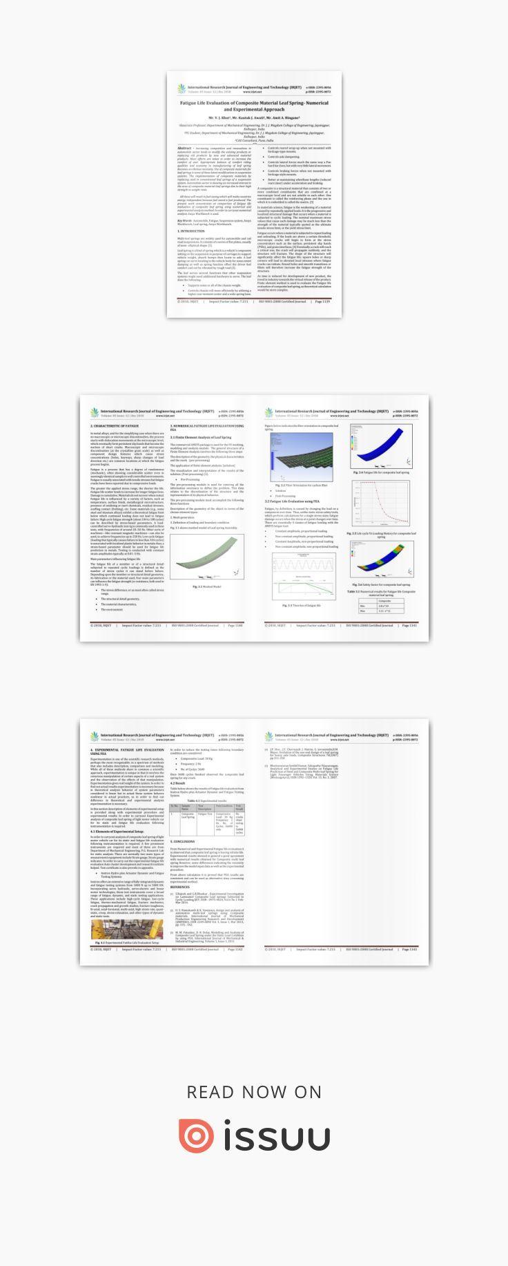 IRJET- Fatigue Life Evaluation of Composite Material Leaf