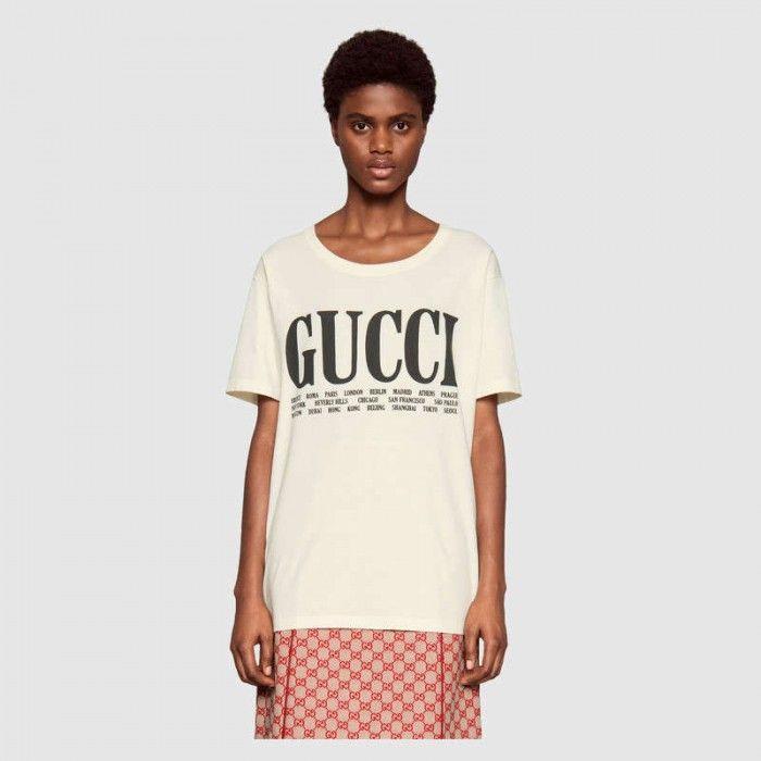 ddc665d28b02 Gucci Cities print T-shirt 492347_X3M22 in 2019 | Gucci Clothes | T ...