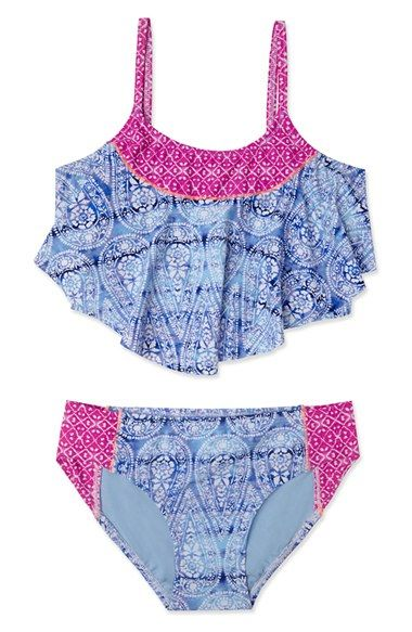 Free shipping and returns on Gossip Girl Two-Piece Tankini Swimsuit (Big Girls) at Nordstrom.com. An ombré pattern and fluttery ruffles enliven a two-piece swimsuit featuring a color-blocked tankini top and classic bottoms.