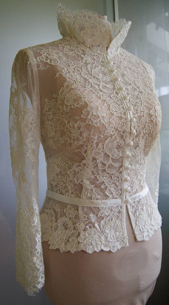Wedding bolero-top-jacket of lacealencon sleeves  . by TIFARY
