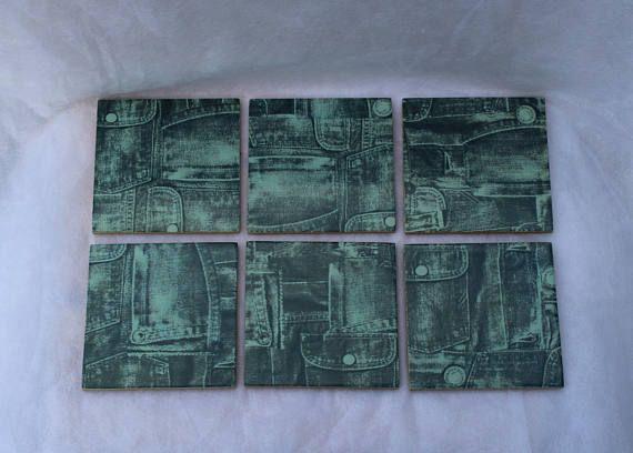 Six denim themed coaster set