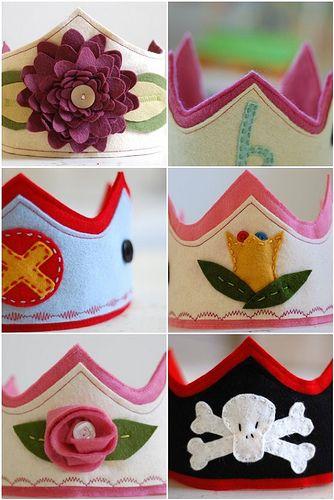 Felt Crowns.  Cute idea for birthdays.  Make each child their own crown to wear each year on their birthday.
