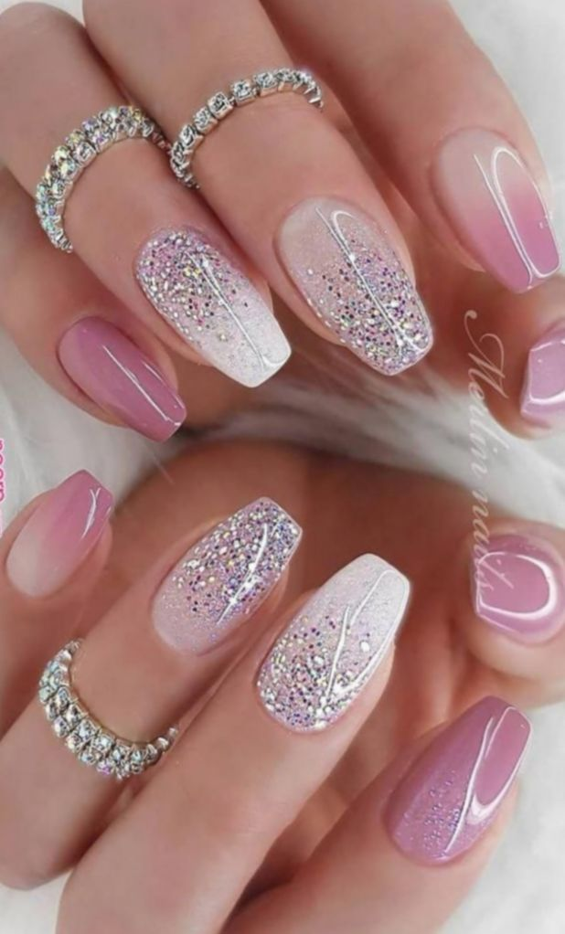 14 Cute Pink Nails Glitter Deluxe Nails Sparkly Nails Short Acrylic Nails