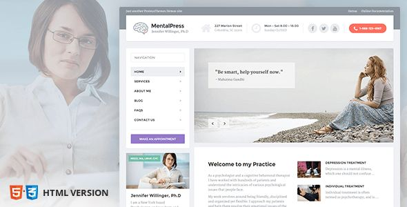 MentalPress is a premium Website Template for psychiatrists built with HTML5 and CSS3. It is our most advanced and sophisticated website we built so far. It is very easy to setup and use. Well Docu...