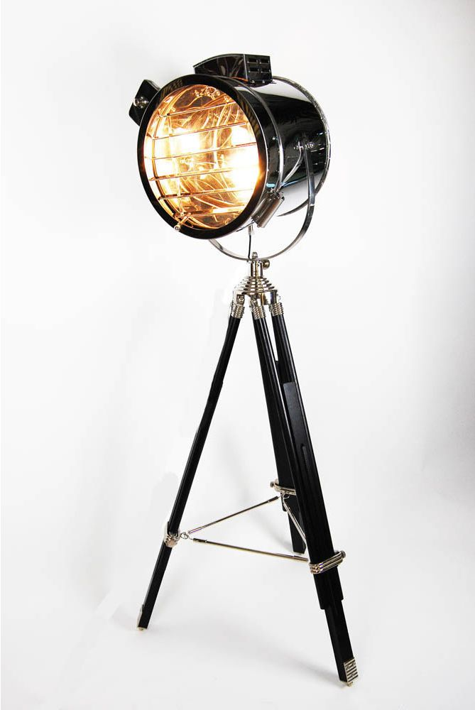 I have the perfect tripod to build a super cool floor lamp with.  a couple of these film floor lamps throughout the venue would add to the industrial theme
