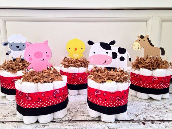Set of 5 Mini Farm Themed Diaper Cakes, Farm Baby Shower Centerpieces, Farm Baby Shower Decorations on Etsy, $50.00