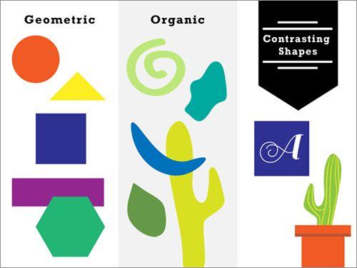 形(有機的と幾何学的)でコントラストをつくる  形(有機的と幾何学的)でコントラストをつくる 形というのは、幾何学的(geometric)な形と有機的(organic)な形のどちらかに属します。幾何学的な形は長方形・三角形・円などで、有機的な形は液体など自然が生み出した形のことです。幾何学的な形にみられる一様性の角度は、有機的な形の特徴でもある非対称のカーブとコントラストをつくることができます。