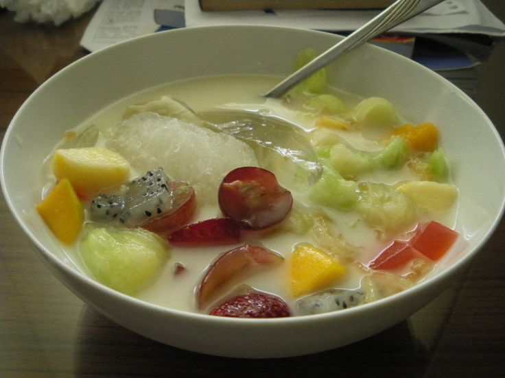 "This is Indonesian classical Fruit Soup. Such a very refreshing dish at summer. We usually use mango,strawberry,kiwi,grape,melons and ""blewah"" with the milk broth and some ice cube. Sweet,Soury and sooo refreshing."