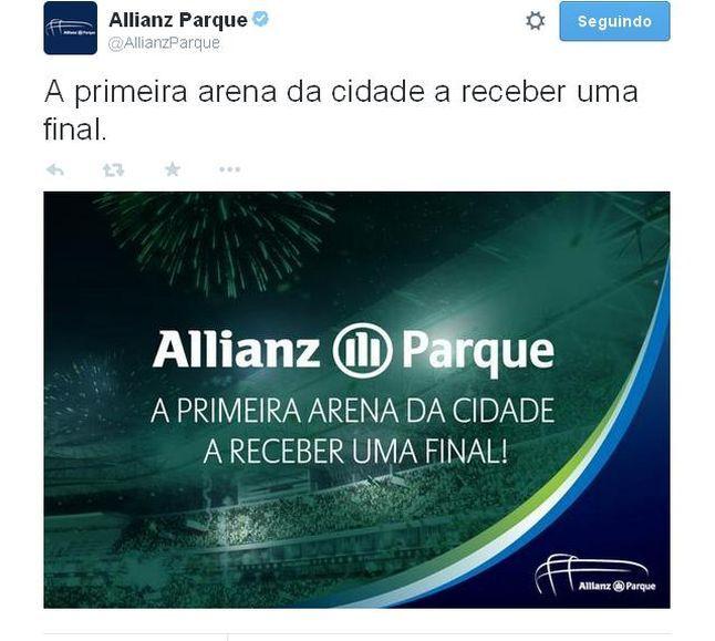 Allianz Parque provoca rival: 'Primeira arena da cidade a receber uma final'  Leia mais no LANCENET! http://www.lancenet.com.br/minuto/palmeiras-allianz_parque-corinthians_0_1344465648.html#ixzz3YADASyac  © 1997-2015 Todos os direitos reservados a Areté Editorial S.A Diário LANCE!