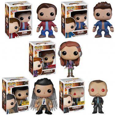 Set of 5 FUNKO Supernatural POP! Television SAM, DEAN, CHARLIE, CROWLEY, & CASTIEL W/ WINGS Figures