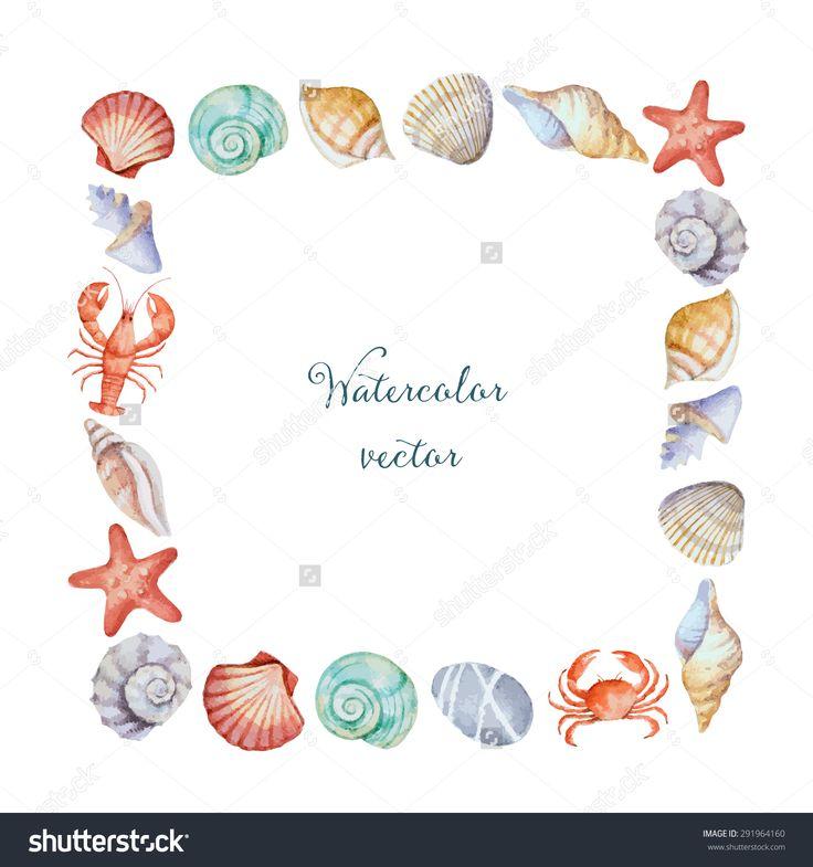 Watercolor Square Frame Of Sea Shells, Vector Illustration