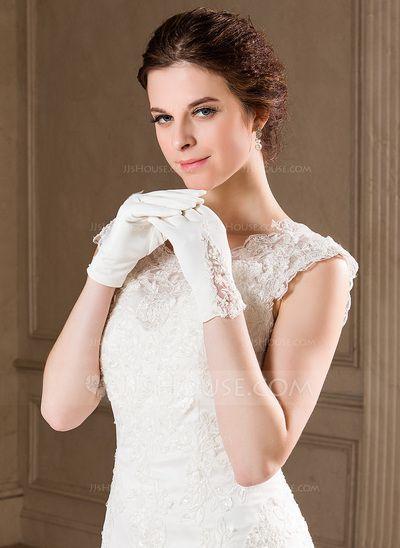 Gloves - $3.49 - Elastic Satin Wrist Length Bridal Gloves (014040729) http://jjshouse.com/Elastic-Satin-Wrist-Length-Bridal-Gloves-014040729-g40729