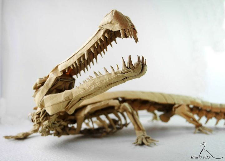 Adam Tran's exquisite origami models of prehistoric creatures look just like realistic models from museum exhibits.