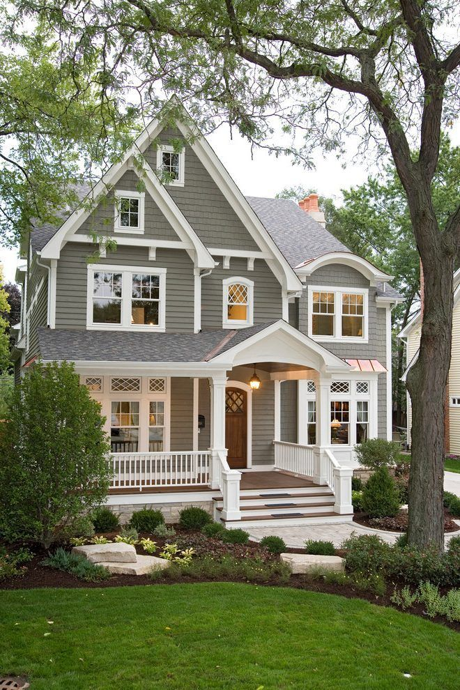 1 Exterior Gray Siding Gray Shingles White Trimming Some Criss Cros Best Exterior House Paint House Paint Exterior Exterior House Paint Color Combinations