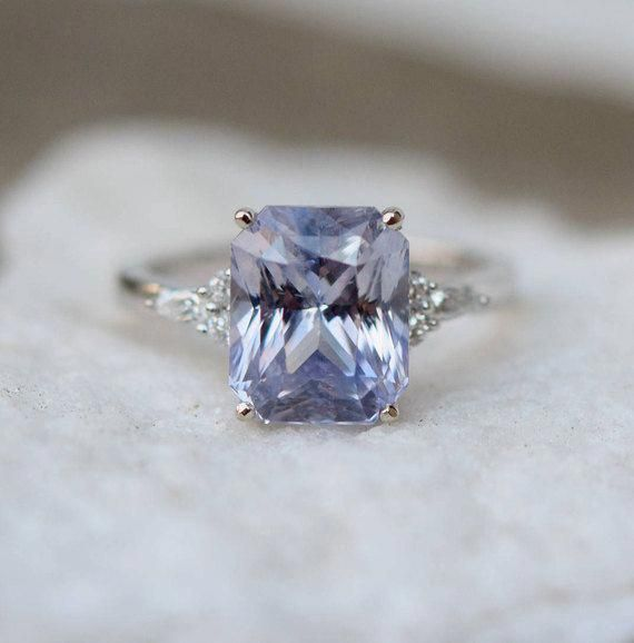 2dda7788db4f5 Dusty lavender sapphire engagement ring This ring features clean and ...