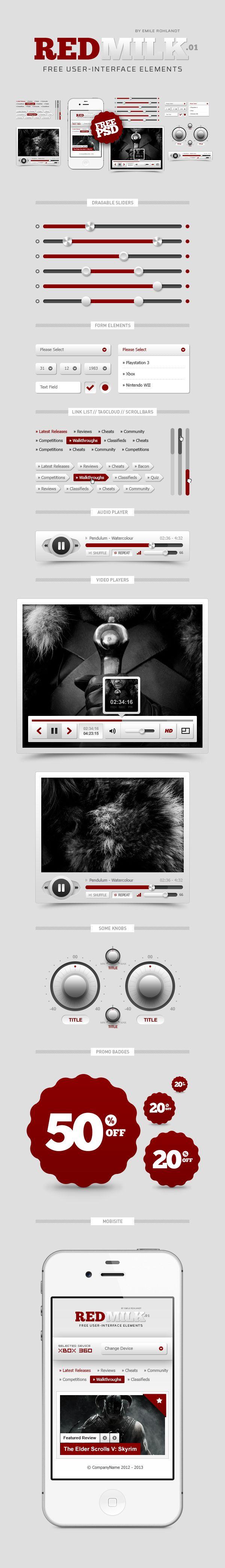 REDMILK FREE #UI Elements (PSD) by Emile Rohlandt, via #Behance