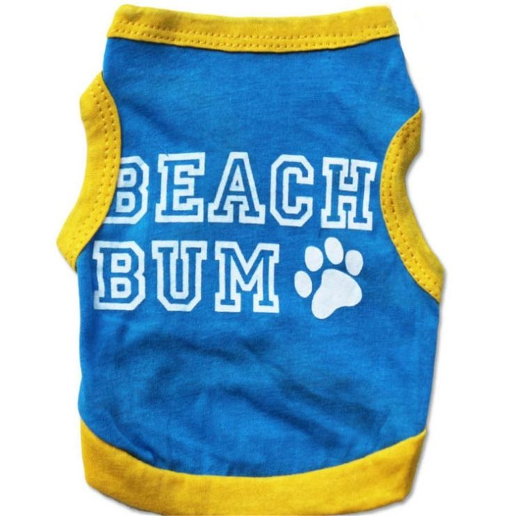 Beach Bum Dog Shirt Blue with Yellow Trim