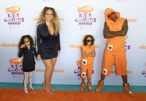 Mariah Carey and Nick Cannon take their twins Moroccan and Monroe to the Nickelodeon Kids Choice Awards on March 11, 2017