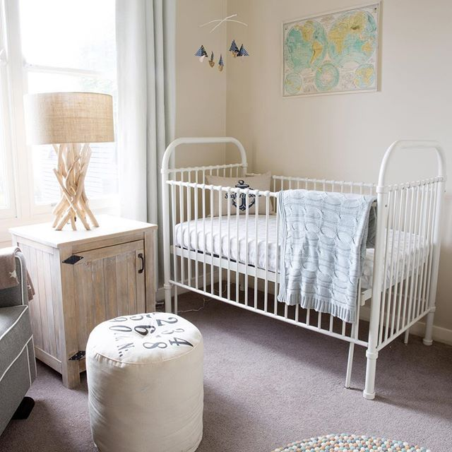 Baby Alec's beach-side bedroom is filled with items the family loves...& not just 'baby' décor pieces either! #beautifulbabiesrooms #book #nursery #babyroom #kidsroom #cot #crib @nestdesignstudio