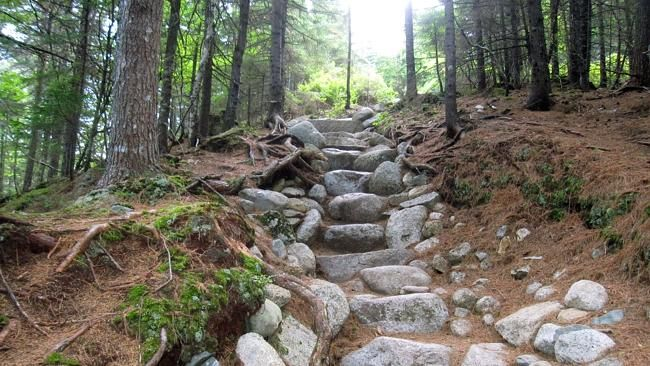 An early stretch of Hunt Trail, a route up Mount Katahdin.
