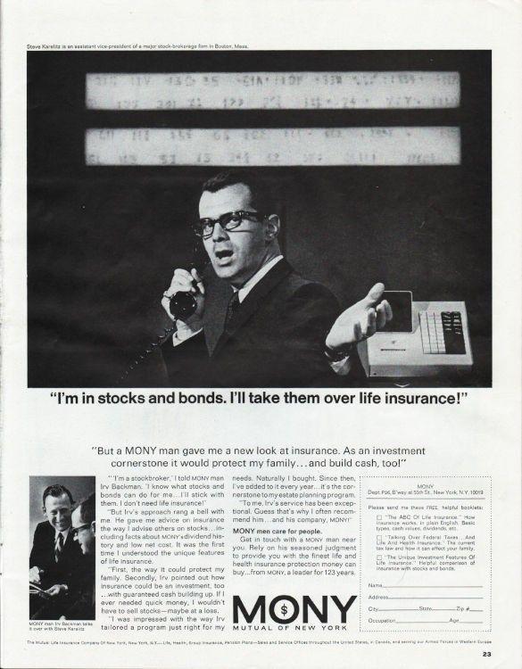 1966 Mutual Of New York Vintage Ad Stocks And Bonds National