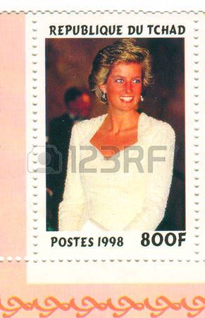 princess diana: A stamp printed in Chad shows image of the Diana, Princess of Wales (1 July 1961 - 31 August 1997), was the first wife of Charles, Prince of Wales, who is the eldest child and heir apparent of Queen Elizabeth II, circa 1998.
