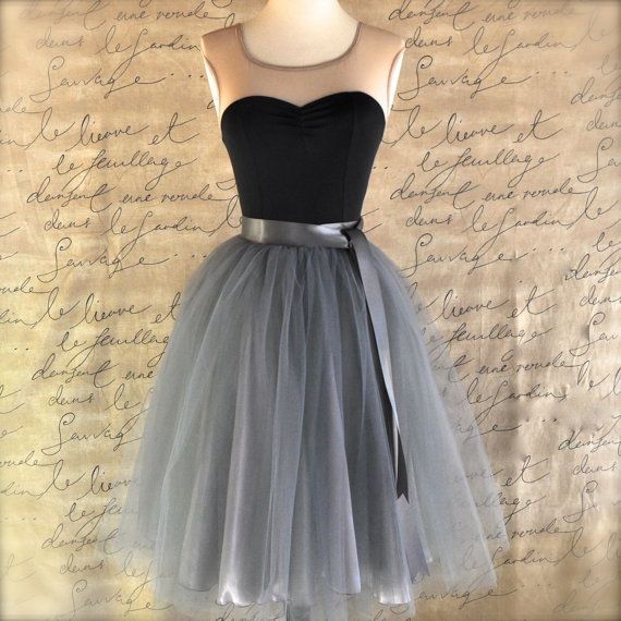 Tulle skirt for women in charcoal grey silver satin lining satin waist sash. Adult tutu skirt