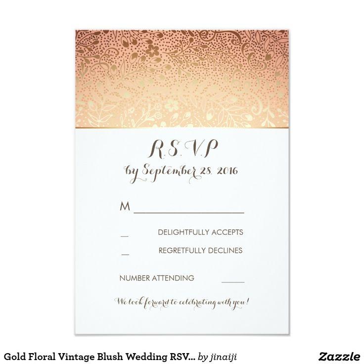 Gold Floral Vintage Blush Wedding RSVP Cards