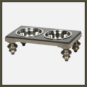 Soho Antique Brass Double Feeder – Small-15W x 8D x 4H inches This elevated dog diner is sleek and classy. The top is made of from recycled aluminum and steel accented with black granite. The legs have an antique brass finish. Available in different sizes. http://theceramicchefknives.com/ceramic-pet-bowls/