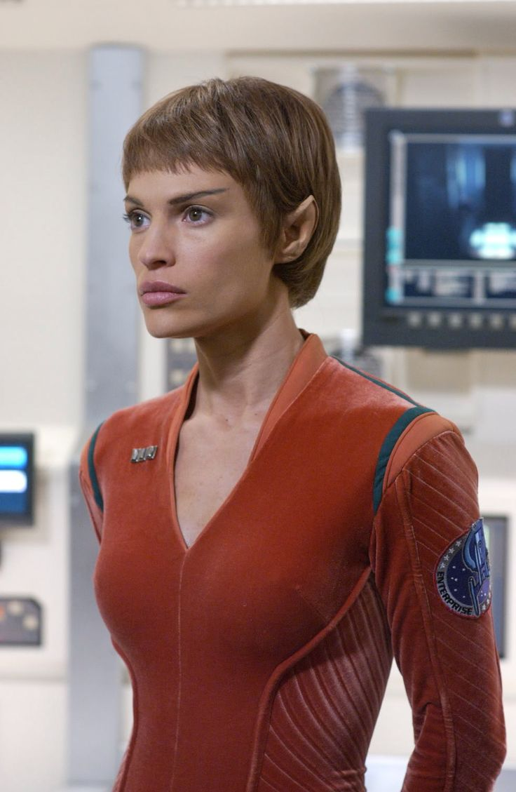 actress Jolene Blalock as T'Pol of Vulcan.