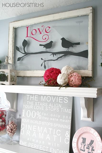 Wall stickers on glass window. Could do this with a monogram wall sticker instead of sticking it to the wall, then it can move with you wherever you go! This would be really cute for wedding signs.