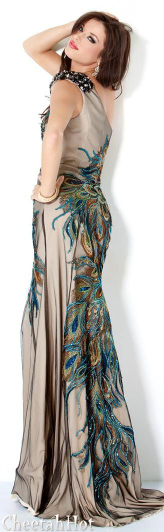 JOVANI - Peacock Print Gown