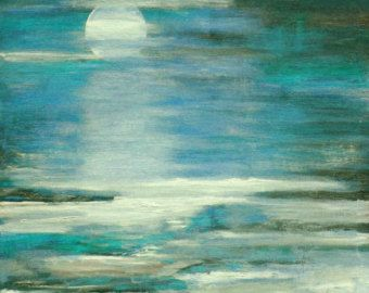 This is a modern .ocean seascapeThis painting is a 24 x 30 canvas. It is highly textured with layered blues and aquas. It will be sealed and wired ready to hang upon arrival.