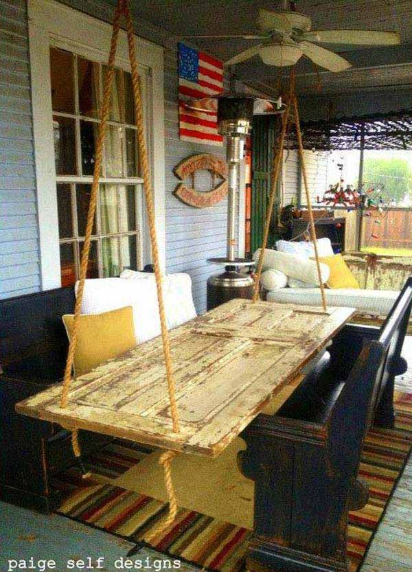 How About Building a Hanging Table from an Old Door?