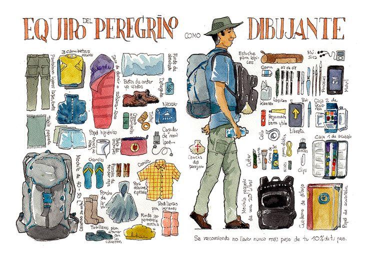 Este verano he hecho el Camino de Santiago dibujado, de Roncesvalles a Santiago. Me he llevado un cuaderno de acuarelas para ir rellenándolo...