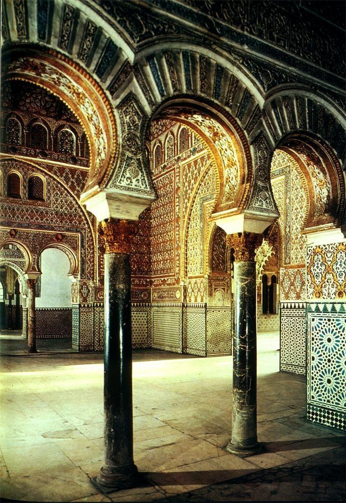 Interior of the Alcazar of Seville, Spain.