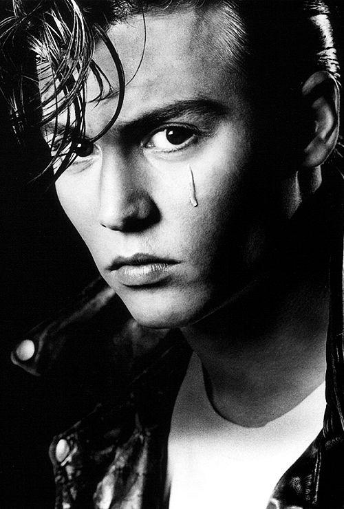 Johnny Depp, male actor, tear ? - intense eyes, hottie, eye candy, celeb, famous, beauty, portrait, photo b/w.